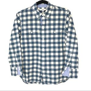 Madewell Small Blue Gingham Check Cargo Work Shirt